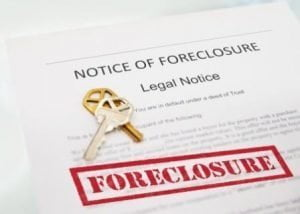 Foreclosure notice with house keys