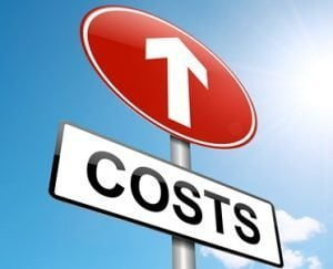 Sign with arrow showing rising costs