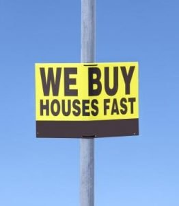 We buy houses for cash street sign